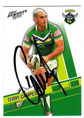 Terry Campese Canberra Raiders 2012 Select Nrl Dynasty Signed Card