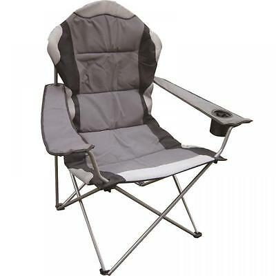 Deluxe Folding Camping Chair Grey Black Fishing Picnic Beach Garden Patio Seat