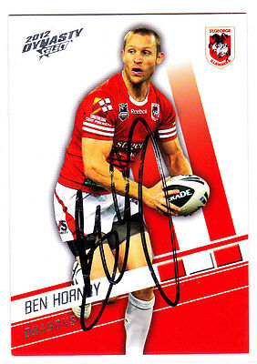 Ben Hornby St George Illawarra Dragons 2012 Select Nrl Dynasty Signed Card