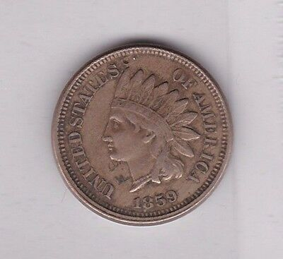 Usa 1859 One Cent In Near Very Fine Condition