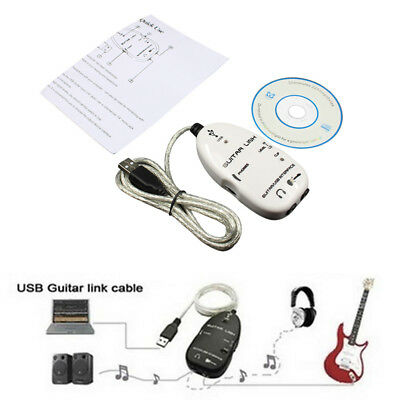 White Adapter Electric Guitar to USB Interface Link Cable for PC Mac Recordin
