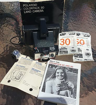 VINTAGE POLAROID COLORPACK 80 LAND CAMERA with ORIGINAL BOX & DOCUMENTS *NOS