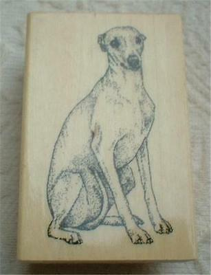 Wood Mount Mounted Rubber Stamp Gallery Whippet Dog Crafts Stamping ~Unused