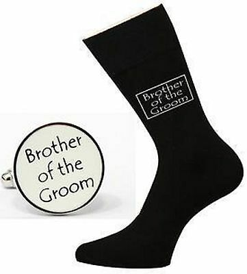 BROTHER OF THE GROOM - BLACK Wedding SOCKS & Round CUFFLINKS Set
