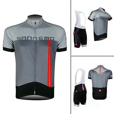 Mens Cycling Outfit Short Sleeve Jersey Bib Shorts Kits Bike Shirt Pad Pants Set