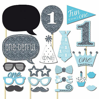 20Pcs Photo Booth Photobooth Baby Boy One First Birthday Props Party Prop DIY