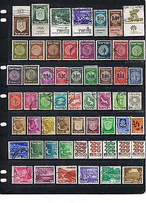 Collection Early Onward Israel Stamps Mint & Used Off Paper