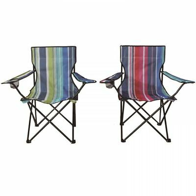 Stripe Folding Camping Deck Chair Outdoor Fishing Picnic Beach Garden Patio Seat