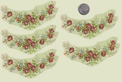 5 x Waterslide ceramic decals  Decoupage Pink roses and forget-me-not (PD14a)