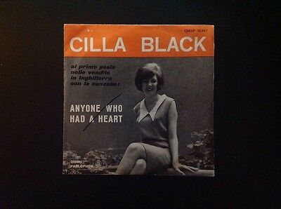 """CILLA BLACK. ANYONE WHO HAD A HEART - JUST FOR YOU 7"""" Italy Parlophon 1964"""