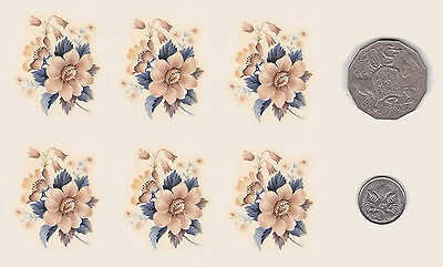 "6  x Waterslide ceramic decals Decoupage Pastel Flowers. 1 3/4"" x 1 3/8""  PD637"