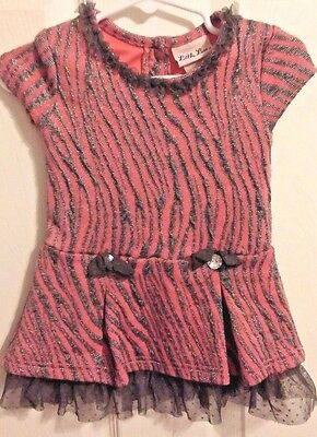 Baby Girls Little Lass Pink and Sparkle Gray Zebra Print Shirt Size 2T   #541