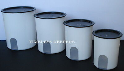 FREE SHIP Tupperware One Touch Reminder Canister Set 4 pc 5-8-12&17.5 NEW Black