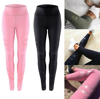 Womens High Waist Yoga Fitness Leggings Gym Stretchy Sports Slim Pants Trousers