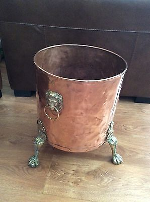 Antique Large Copper  Planter Coal/ Log Holder With Brass Claw Feet & Lion Head