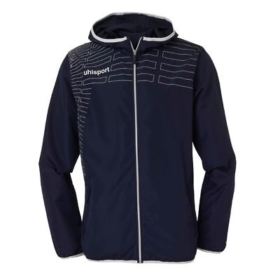 Uhlsport Womens Ladies Sports Football Training Hooded Zip Jacket Top Navy ...