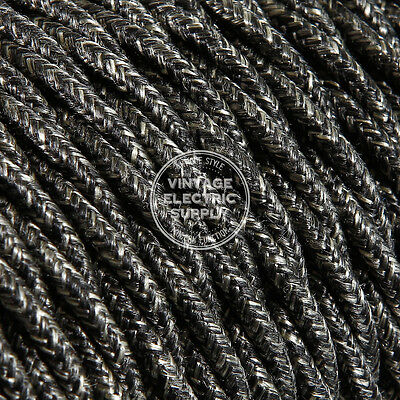 Black Linen Twisted Cloth Covered Electrical Wire - Braided Linen Fabric Wire