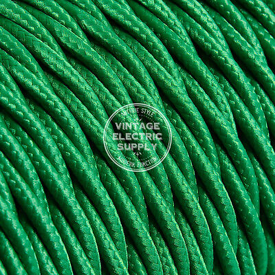 Green Twisted Cloth Covered Electrical Wire - Braided Rayon Fabric Wire