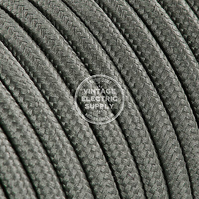 Grey Round Cloth Covered Electrical Wire - Braided Rayon Fabric Wire