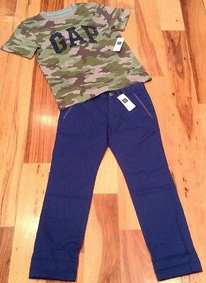 Gap Kids Boys Size 6 Outfit. Camouflage Shirt & Blue Skinny Fit Pants. Nwt
