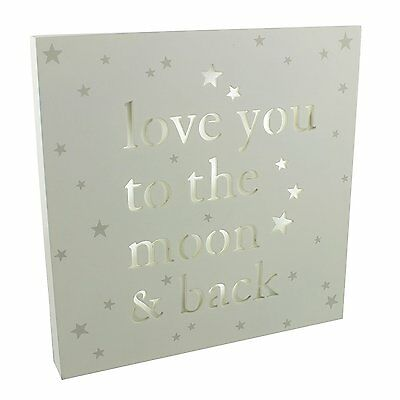 Bambino Baby Shower Light Up LED Nursery MDF Wall Plaque - Love you to the Moon