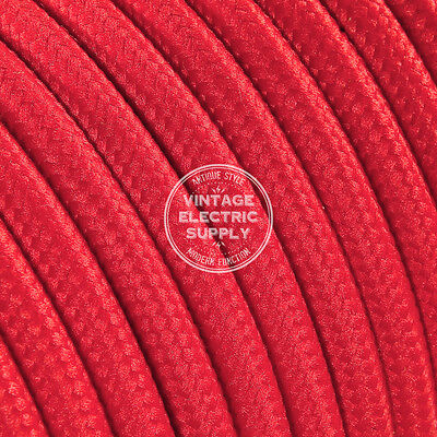 Red Round Cloth Covered Electrical Wire - Braided Rayon Fabric Wire