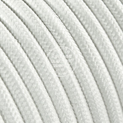 White Round Cloth Covered Electrical Wire - Braided Rayon Fabric Wire