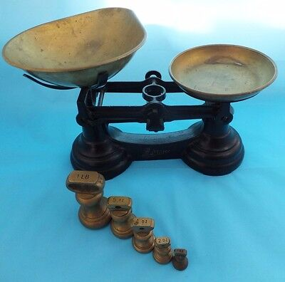 Vintage Librasco Traditional Scales With Five Weights Made In England