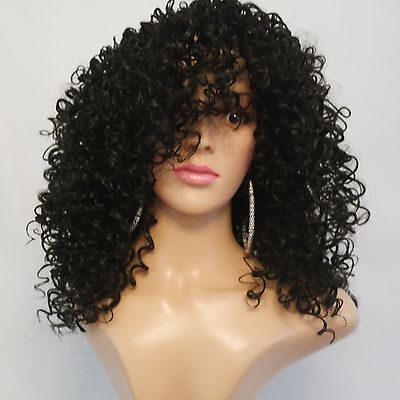 Synthetic Budget Kinky Curly Wig Black 12""