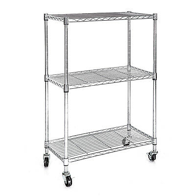 Chrome 3 Tier Wire Shelving Rack Cart Unit w/Casters Shelf Wheels Heavy Duty