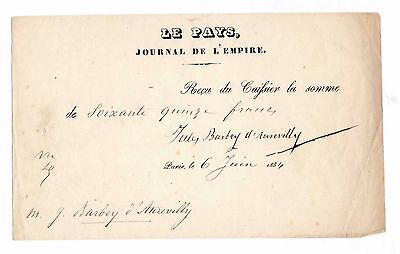 Jules Barbey D'aurevilly / Document Signé (1854) / Le Pays Journal De L'empire