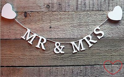 Mr & and Mrs Bunting Garland Banner Wooden Wedding Hanging Decoration