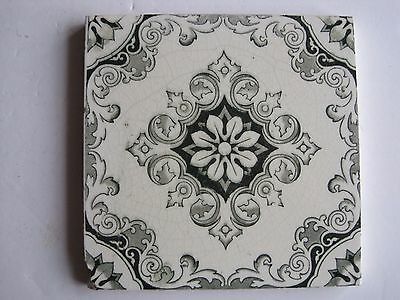 ANTIQUE VICTORIAN AESTHETIC GREEN TRANSFER PRINT TILE c1899
