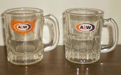 """2 Vintage A & W Root Beer Baby Mini Glass Mugs - 3"""" tall"""
