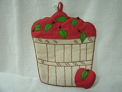 Potholder  ** Basket of Red Apples**   by Hallie St Mary--Quilted-Unused