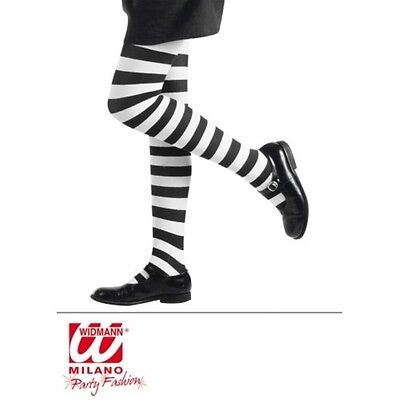 Kids Childs Black White Striped Stripey Tights Age 7-10 Mildred Hubble Witch