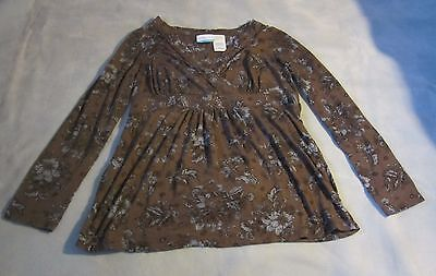 Announcements Maternity Womens Size Large Top Knit Gray Blue Floral Long Sleeve