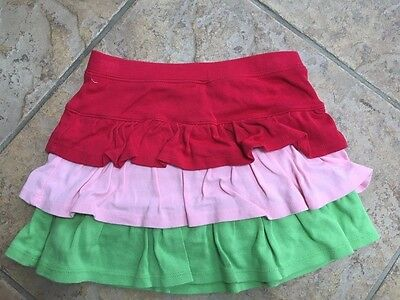 Gymboree Vintage WATERMELON PICNIC 7 EUC Red/pink/green ruffle tiered skort LOOK