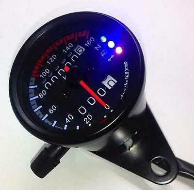 New LED Backlight Signal Motorcycle Odometer Speedometer Gauge Cafe Racer KM/H