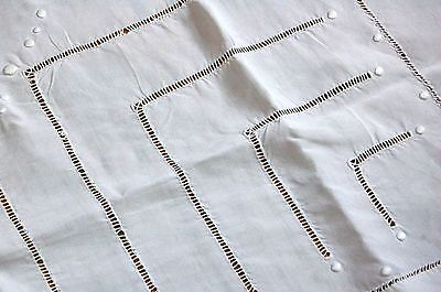 Embroidered PURE Linen Panel White 80x19 Antique French Handmade Sheet Return