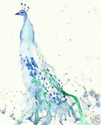 Peacock #2  A4 print of original watercolour and Ink  by Yolande.
