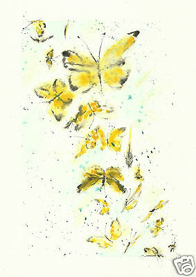 'Yellow Butterfly Waterfall' A4 print of original watercolour by Yolande.