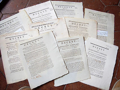 Revolution 1791- 1793 lot 10 documents révolutionnaires