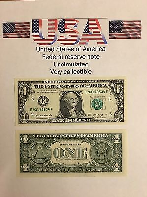 USA One Dollar Bank Note Uncirculated Highly Collectable Mint George Washington.