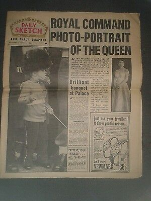 Daily Sketch Newspaper-Jun 4 1953-Royal Command Photo-Portrait of the Queen.