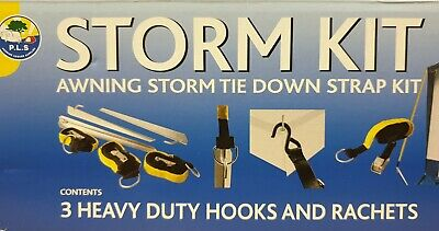 Awning / Tent Storm Tie Down Kit - 3 x 3m Straps & Cam Buckle - Camping   BG400