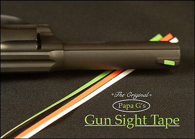 "Gun Sight Tape, Clealy see your front sight. 24"" total, 3 popular colors."