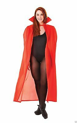 Red Cape Vampire Dracula  Collar Adult 56in Long Polyester Halloween Fancy Dress