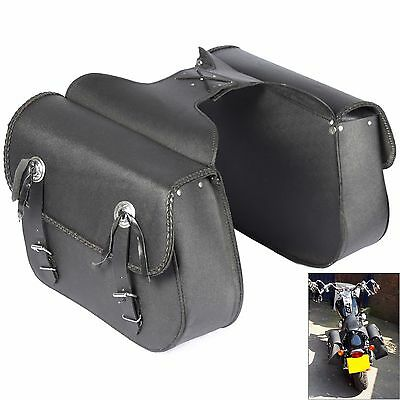 X2 Motorcycle Leather Saddle Bag Panniers Motorbike Saddlebags Travel Luggage