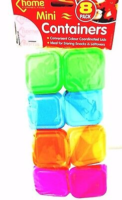 8x Mini Storage Boxes Plastic Baby Weaning Feeding Freezer Food Pots Containers